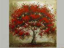 Red Flower Tree Oil Painting on Canvas Wall Art