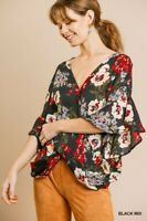 Umgee Black Bohemian Floral Print 3/4 Ruffled Sleeve Twist Front Top