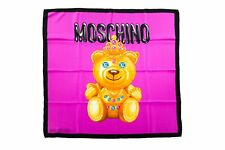 MOSCHINO Foulard Donna In Seta CROWNED TEDDY Fazzoletto Da Collo Stampa  Fucsia 2f681456db33