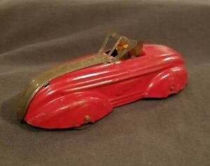 Wyandotte 1930s Pressed Steel Toy Roadster w/ Driver Race Car Orignial Paint