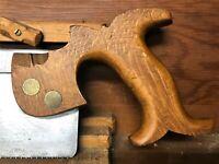 Early English Split Nut Open Handle Back Saw - 13 TPI Cross Cut Handsaw