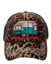 HAPPY CAMPER  Trailer Camper Cap Cheetah Black Distressed Hat Adjustable