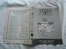 TORO 6 HP LAWN TRACTOR- OPERATING & PARTS MANUAL-MODELS 57101 & 57201-1967