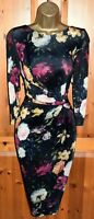 PHASE EIGHT STUNNING BLACK FLORAL COCKTAIL WIGGLE DRESS UK 16 WEDDING OCCASION