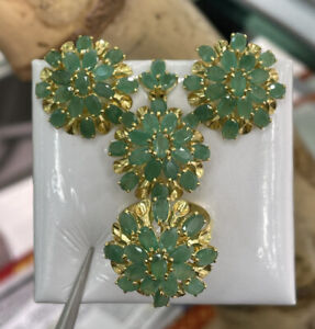 14k Pure Gold Cluster Set Earrings Ring Pendant, Natural Emerald 14.70 grams