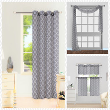 1 PANEL GROMMET PRINTED VOILE SHEER WINDOW CURTAIN TREATMENT GREY / WHITE