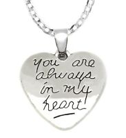 Valentines 925 Sterling Silver Womens Men Always In My Heart Chain Link Necklace