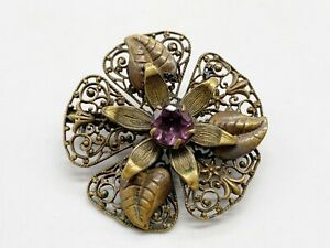 ANTIQUE VICTORIAN FILIGREE CZECH AMETHYST GLASS SOLITAIRE LADIES PIN BROOCH