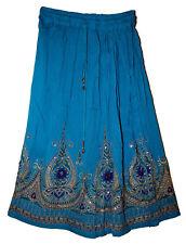 Indian Rayon Skirt Gypsy Ethnic Women Jupe Boho Hippie Retro Falda Knee Length