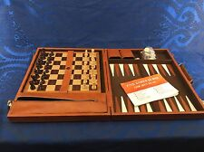 Vintage 1970s Wood/ Vinyl Quality Folding Chess Backgammon Board Complete Mint