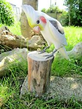 More details for fair trade hand carved made wooden cockatiel cockatoo bird ornament sculpture