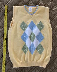 Gymboree 10 Country Club Argyle Sweater Vest Yellow Boys Vintage 2006