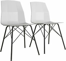 Riley Molded Gray Dining Chair Set 2 Black Metal Base CosmoLiving Cosmopolitan