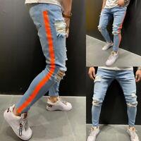 Men Ripped Biker Skinny Jeans Frayed Destroyed Trousers Slim Fit Denim Pants