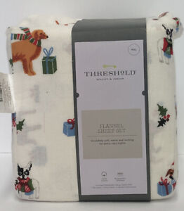 Threshold Holiday Dogs Flannel Sheet Set Size: FULL 100% cotton Christmas Pet