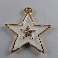 Weiß & Gold Legierung Emaille Stern Charme Anhänger Kunst Schmuck 10X 50984