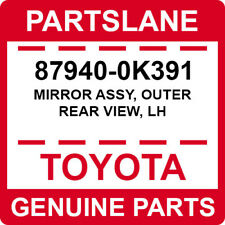 87940 0k391 Toyota Oem Genuine Mirror Assy Outer Rear View Lh