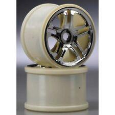 """Traxxas 5172R Chrome Split Spoke SS Wheels (2) 3.8"""" 17-mm 17mm Hub: Revo"""