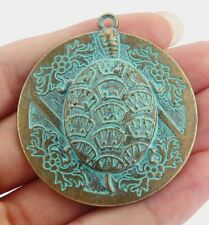 "2"" large round pendant-carved turtle patina brass tone round disc pendant"
