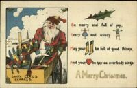 Santa Claus with Toys~Holly ~ Antique Christmas Rebus Puzzle~Postcard---a103
