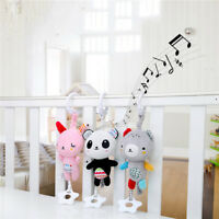 Baby Plush Animal Toy Bed Stroller Hanging Ring Bell Toys Soft Rattle Doll QK