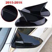 2Pcs Side Mirror Cover Trim Cap For Honda Civic 10th 2016-18 Gloss Black