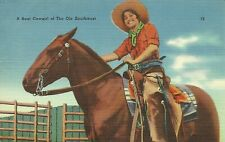A Real Cowgirl of the Ole Southwest Western Art Rodeo Linen Postcard