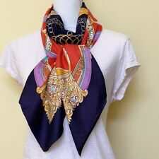 ♡ Beautiful Red and Navy Blue Large Scarf with Tuckernuck Colette Print ♡