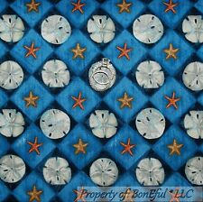 BonEful Fabric Cotton Quilt Blue Gold Cream Star Fish Beach Sand Dollar 99 SCRAP