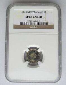 New Zealand 1965 Three Pence 3D, NGC SP 66 Cameo, Rare and Nice