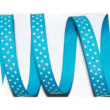 """3/8"""" Turquoise White Swiss Dots GROSGRAIN RIBBON Hairbow Hair Bows 25 YDS"""