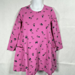 Girls HANNA ANDERSSON PINK Black Ladybug Print LONG SLEEVE A-LINE DRESS 120 6 7