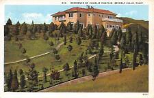 Residence of Charlie Chaplin Beverly Hills, California Vintage Postcard ca 1920s
