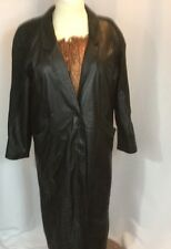 Pellet New York Milan Leather Trench Coat L Black Womens Textured Area