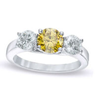 2 ct Fancy D/VVS1 Yellow and White Diamond Three Stone Ring in 14K White Gold