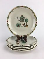 Lot of 5 Thomson Pottery BIRDHOUSE Pattern Salad Dessert Plates 8 inches