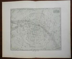 Northern Night Sky Constellations Milky Way 1875 Stieler & Bruhns detailed map