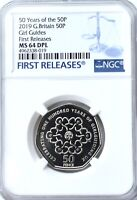 2019 Girl Guides 50p NGC MS64 DPL Fifty Pence Coin Britain Royal Mint UK