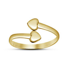 14K Yellow Gold Over Double Heart Bypass Womens Adjustable Toering 925 Silver