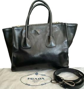 100% Authentic Prada Bag Tote Shoulder Cross body Black Genuine Leather Handbag