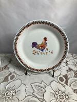 Everyday Gibson Rooster Plate w/Check & Flower Border 10 Inche Dinner Plates (3)