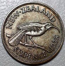 1935 NEW ZEALAND SIXPENCE-VF+ KM 2-.500 SILVER 6 PENCE