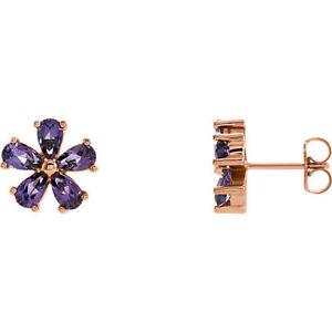 Amethyst Earrings In 14K Rose Gold