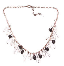 Gorgeous Clear & Black Fringed Charm & Rustic Copper Chain Necklace( Zx140/149)