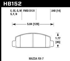 Hawk Disc Brake Pad Set-Base Natural Front for Mazda RX-7 / Cosmo # HB152F.540