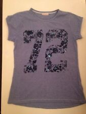 Pretty Blue Short Sleeve '72' Girls Top Age 10 - 11 Years GC