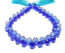 Blue Topaz Hydro Quartz Faceted Onion Teardrop Briolette Beads 8x8mm 8'' Strand