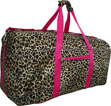 "22"" Women's Leopard Print Gym Dance Cheer Travel Carry On Duffel Bag - Pink"