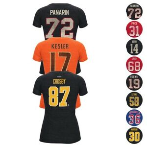 NHL CCM Various Team Player Name & Number Retro Jersey T-Shirt Collection Women