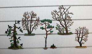 Zinnflachfiguren: Bäume - bemalt 3,  30mm